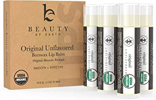 Organic Lip Balm Original Unflavored - 4 Tubes of Natural Lip Balm, Lip Moisturizer, Lip Treatment for Dry Lips, Lip Care Gifts for Women or Men, Lip Repair, Organic Chapstick, Stocking Stuffer Ideas