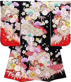 七五三 7歳 着物 女の子 式部浪漫 ブランド 絵羽柄 着物 合繊 2019年「黒 桜に松」SR7pe-1904