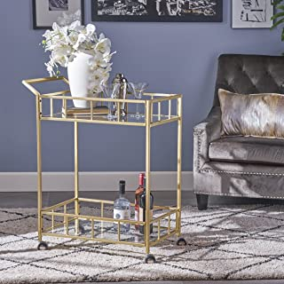 Christopher Knight Home 304468 Louise Indoor Industrial Modern Iron and Glass Bar Cart, Gold