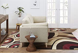 Home Dynamix Tribeca Slade Modern Area Rug, Abstract Brown/Red 3 Piece Rug