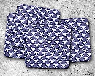 Posavasos morado con diseño de semicírculo blanco y líneas azules, posavasos individuales o juego de 4