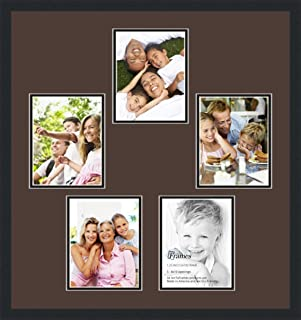Art to Frames Double-Multimat-495-776/89-FRBW26079 Collage Photo Frame Double Mat with 5-8x10 Openings and Satin Black Frame