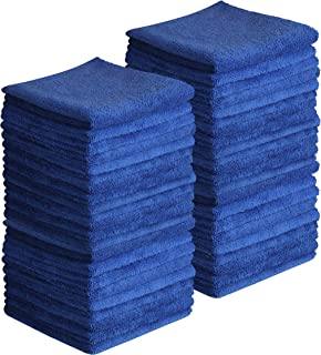 Beauty Threadz Plush Microfiber Edgeless Towels, 80% Polyester 20% Poly-Amide, Set of 50, Towel for Cleaning Kitchen, car Towel, auto Towel, 16 x 16, Black Red Navy Blue