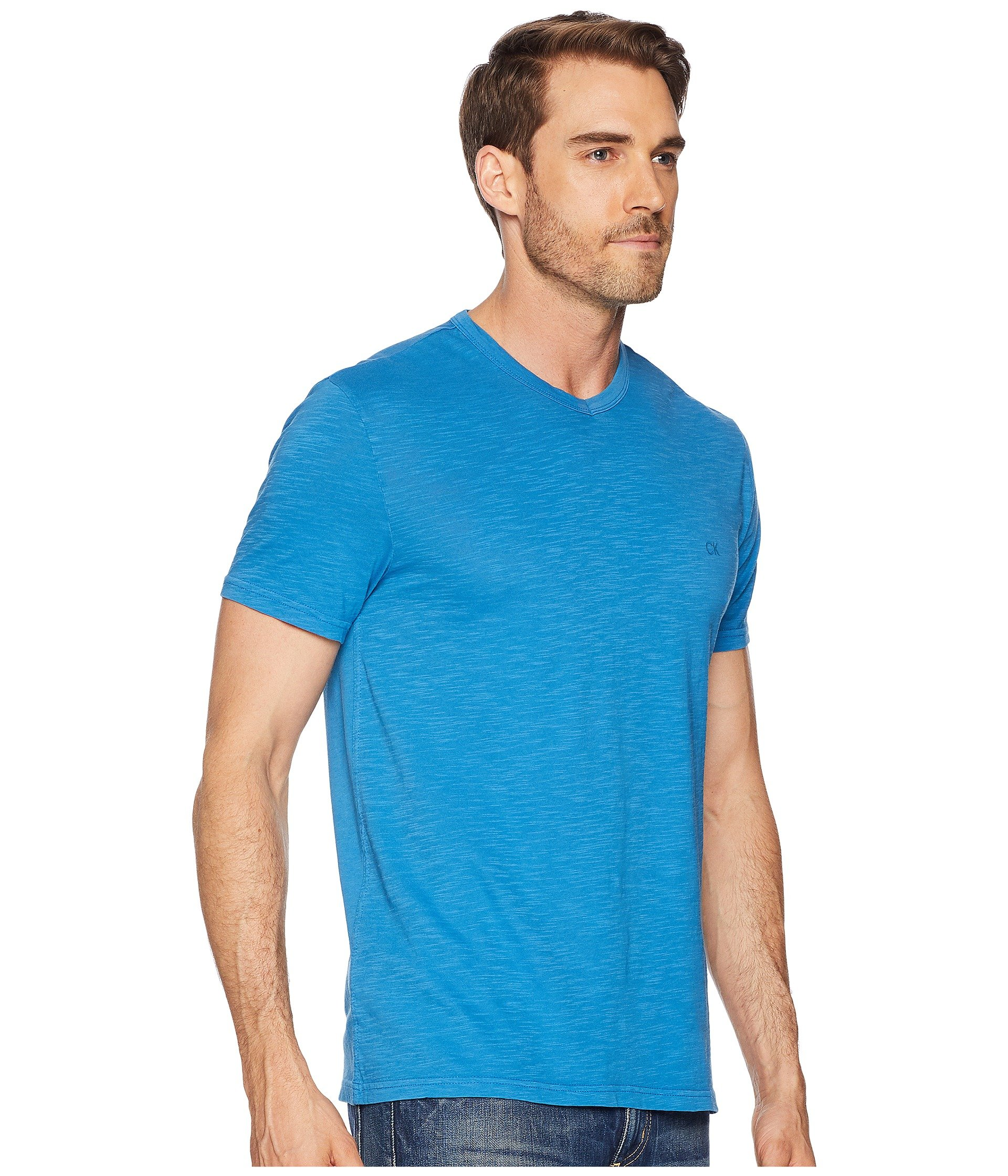 Deep neck Klein Water Jeans Tee Mixed Media Calvin V xp0FzSq