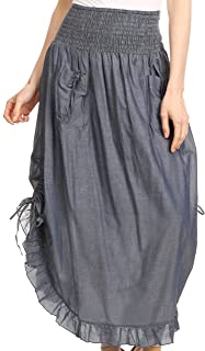 Coco Long Cotton Ruffle Skirt with Pockets and Elastic Waistband