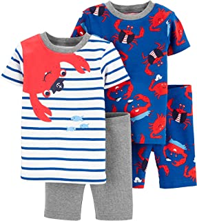 Carter's 4-Piece Toddler and Baby Boy's Sung fit Cotton Pajamas (red/Blue/Crab