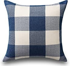 HOME BRILLIANT Buffalo Checkered Plaids Throw Pillow Covers Decorative Euro Pillow Cover Bed, 26 x 26 inch(66 cm), Navy Blue
