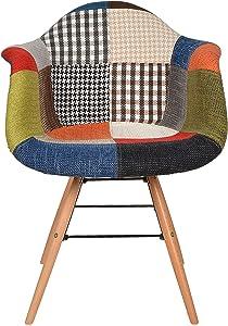 ts-ideen Sedia Poltroncina stile Patchwork anni '50 in legno di faggio rivestito in lino 100%