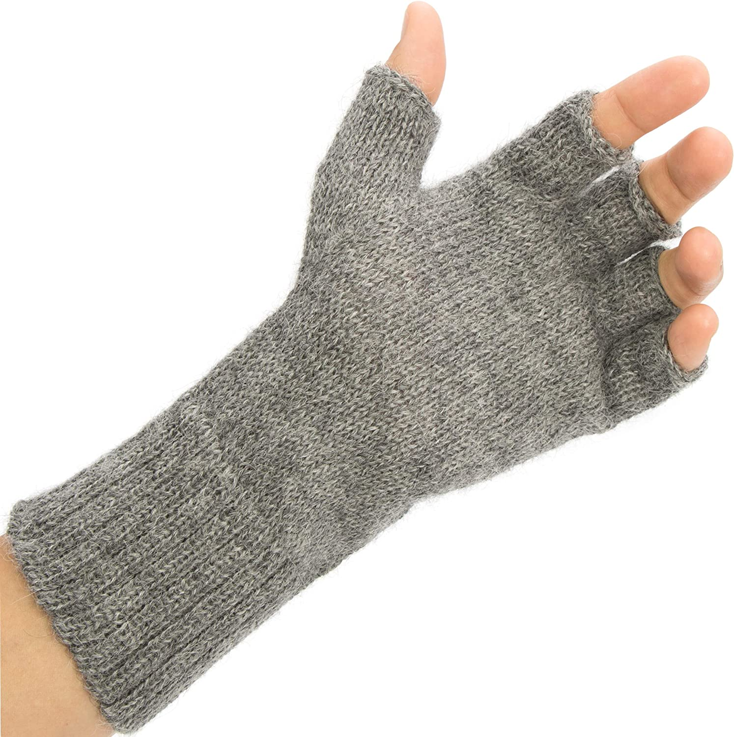 Non Elastic Wrist 100% Alpaca Fingerless Gloves - Best Natural Solution for Cold Hands for Women and Men
