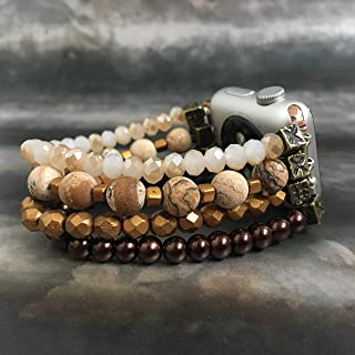 Stacked bracelet style handmade beaded band for Fitbit and Apple Watches