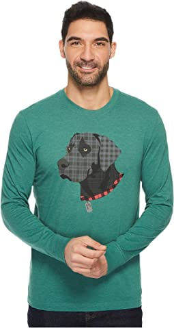 Life is Good Black Lab Patchwork Long Sleeve Crusher Tee