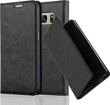 Cadorabo Hülle für Samsung Galaxy S7 - Hülle in Nacht SCHWARZ – Handyhülle mit Magnetverschluss, Standfunktion und Kartenfach - Case Cover Schutzhülle Etui Tasche Book Klapp Style
