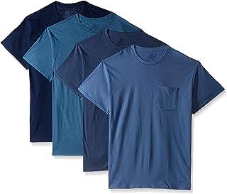Men's Pocket Crew Neck T-Shirt (Pack of 4), Assorted Blues, X-Large