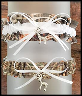 Sexy Camouflage White Satin Camo Wedding Bridal Garter SET - Deer Charm