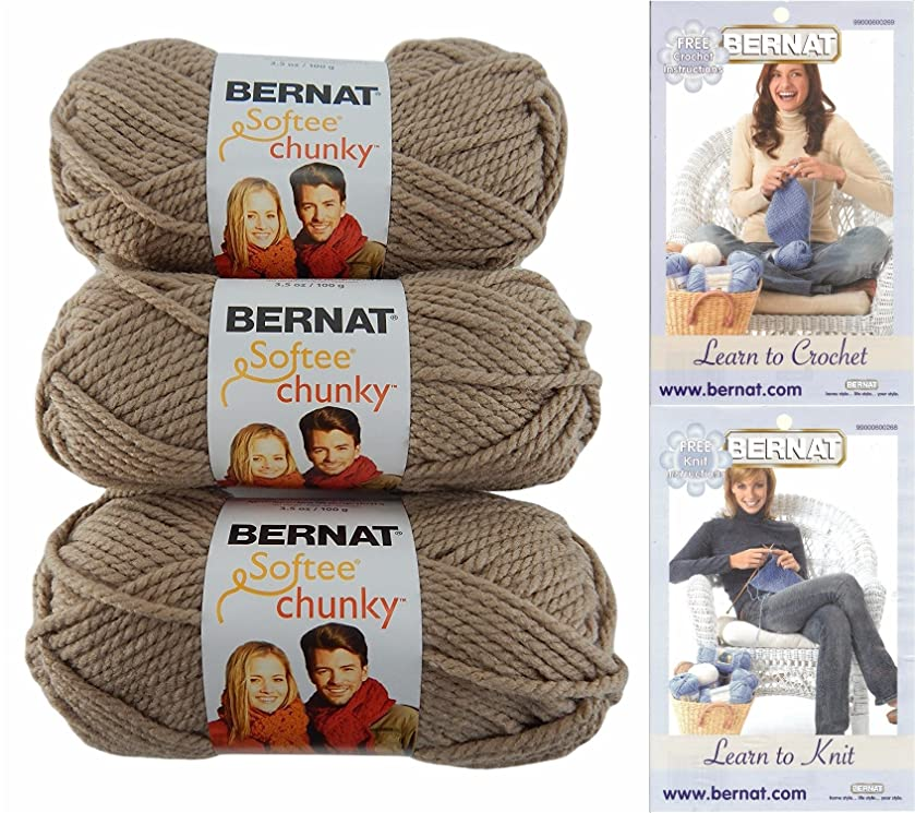 Bernat Softee Chunky Yarn Bundle Super Bulky #6, 3 Skeins, Soft Taupe