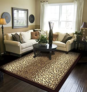 Modern Area Rug Brown Cheetah Leopard Large Rugs for Living Room 8x10 Under 100