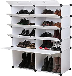 UNICOO - Multi Use DIY Plastic 10 Cube Shoe Rack,Organizer, Bookcase, Shoes Cabinet (25 with Boots Cube, White Wood Grain)