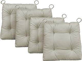 Traumnacht Premium Cojines de silla, 2 unidades, Beige, 38 x 40 x 7 cm