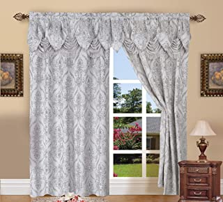 Elegant Comfort Penelopie Jacquard Look Curtain Panel Set with Attached Waterfall Valance, Set of 2, 54x84 Inches, Silver