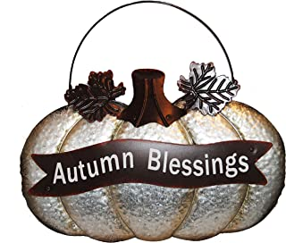 Changing Seasons Metal Pumpkin-Shaped Sign Autumn Blessings (Rustic Silver)