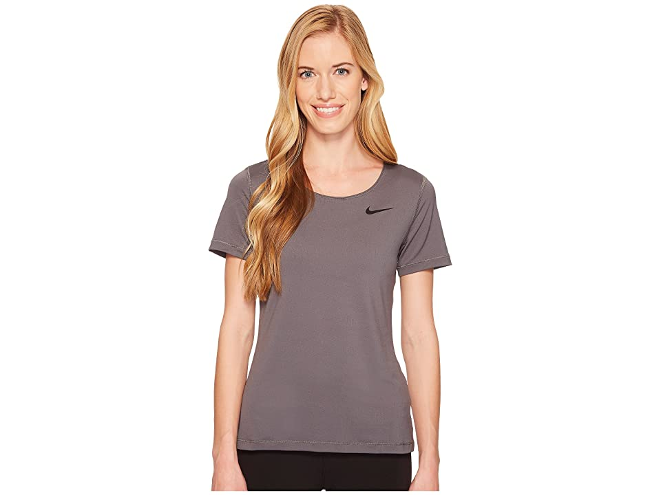 Nike Pro Mesh Short Sleeve Top (Dark Grey/Black) Women