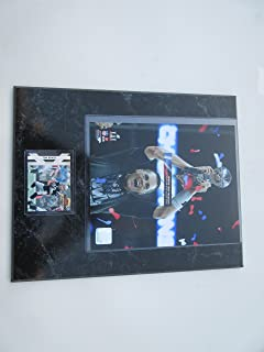 """TOM BRADY NEW ENGLAND PATRIOTS WITH SUPER BOWL 51 TROPHY PHOTO & 3 CARDS MOUNTED ON A """"12 X 15"""" BLACK MARBLE PLAQUE"""