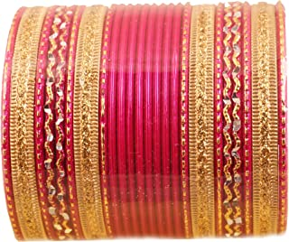 Touchstone Colorful 2 Dozen Bangle Collection Indian Bollywood Alloy Metal Textured Designer Jewelry Special Large Size Bangle Bracelets Set of 24 in Gold Tone for Women