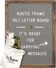 Rustic Wood Frame Gray Felt Letter Board 12×16 inch. Precut White & Gold..