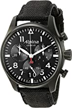 Alpina Men's AL-372B4FBS6 Startimer Pilot Chronograph Big Date Analog Display Swiss Quartz Black Watch