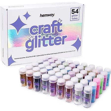 Hemway Lot de 54 tubes de paillettes (9,6 g) - Multi-usages - Paillettes ultrafines pour loisirs créatifs, scrapbooking, slime, résine époxy, écoles, cosmétiques, manucure - Adaptés aux végétaliens