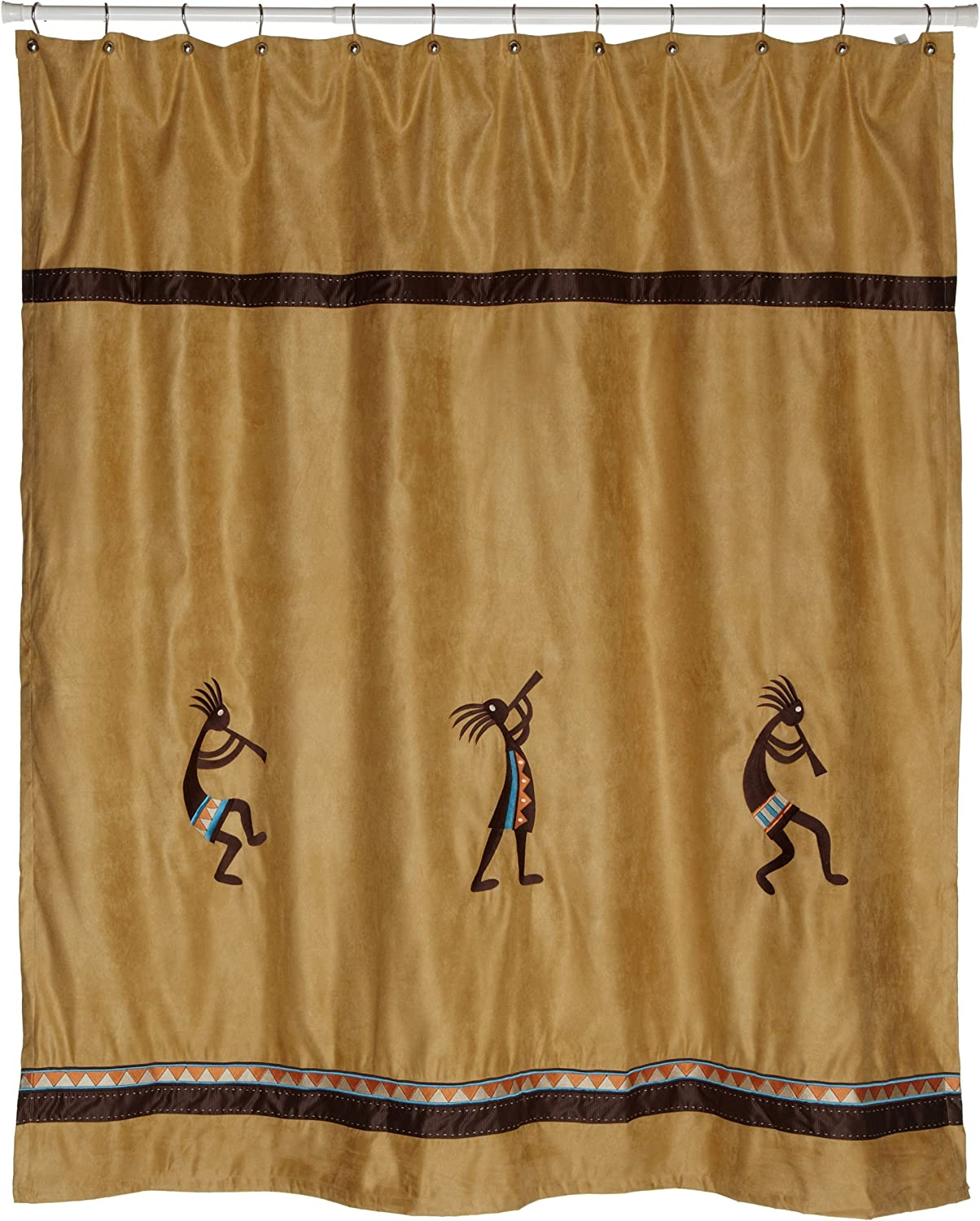Avanti Linens Kokopelli72  x 72  Shower Curtaingold with Brown