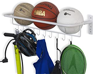 brightmaison Wall Mount Metal Sports Ball and Gear Equipment Organizer Hanging Rack with Hooks in White 32 Inch Long