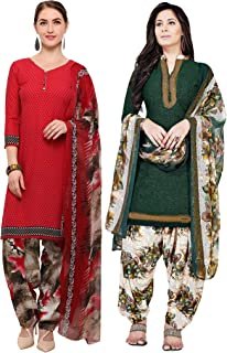 Rajnandini Women's Red and Green Crepe Printed Unstitched Salwar Suit Material (Combo Of 2) (Free Size)