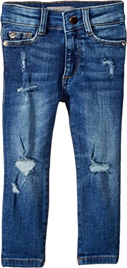 Chloe Dark Wash Distressed Skinny with Chewed Back Pocket in Royce (Big Kids)