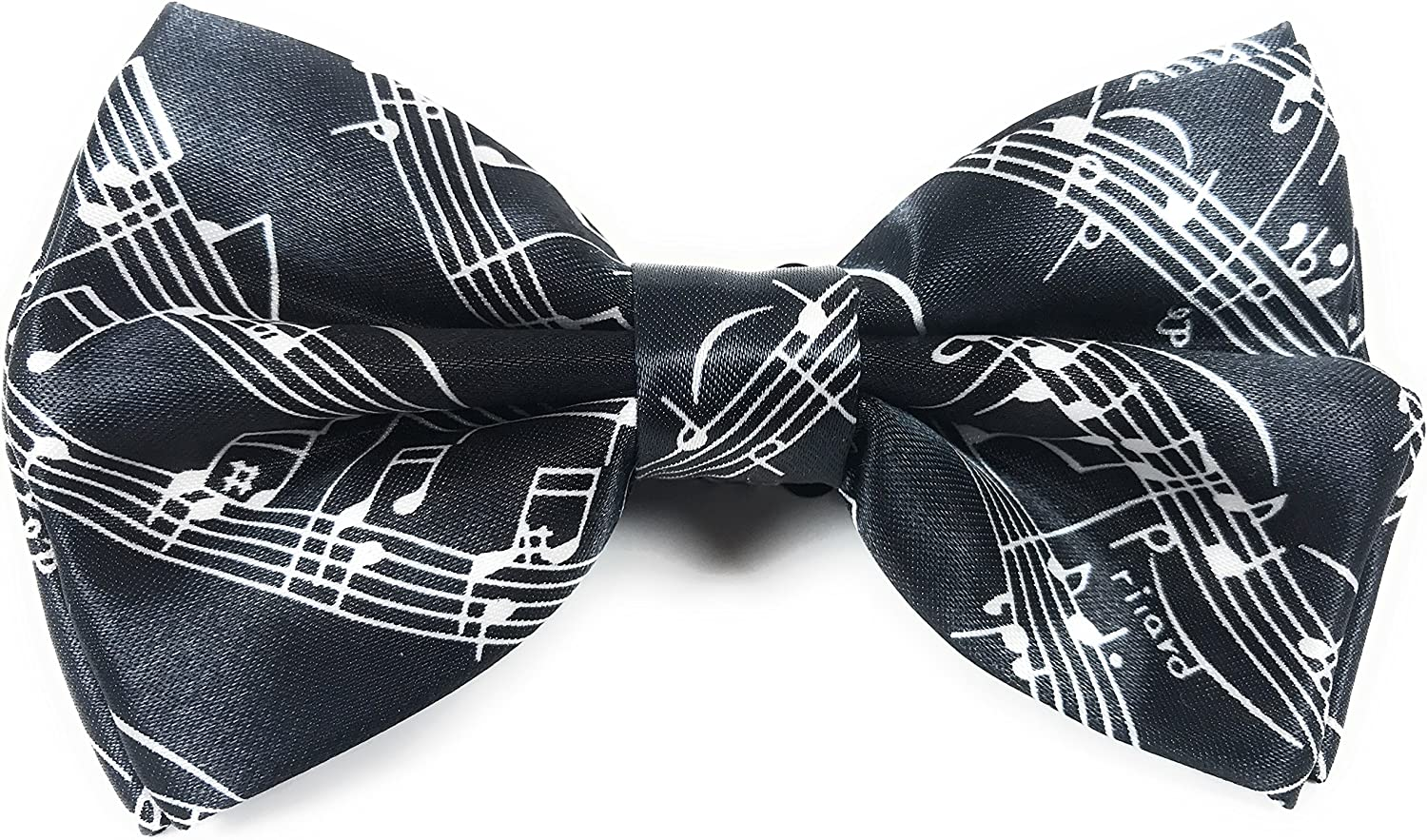 Black Bow Tie with White Music Design