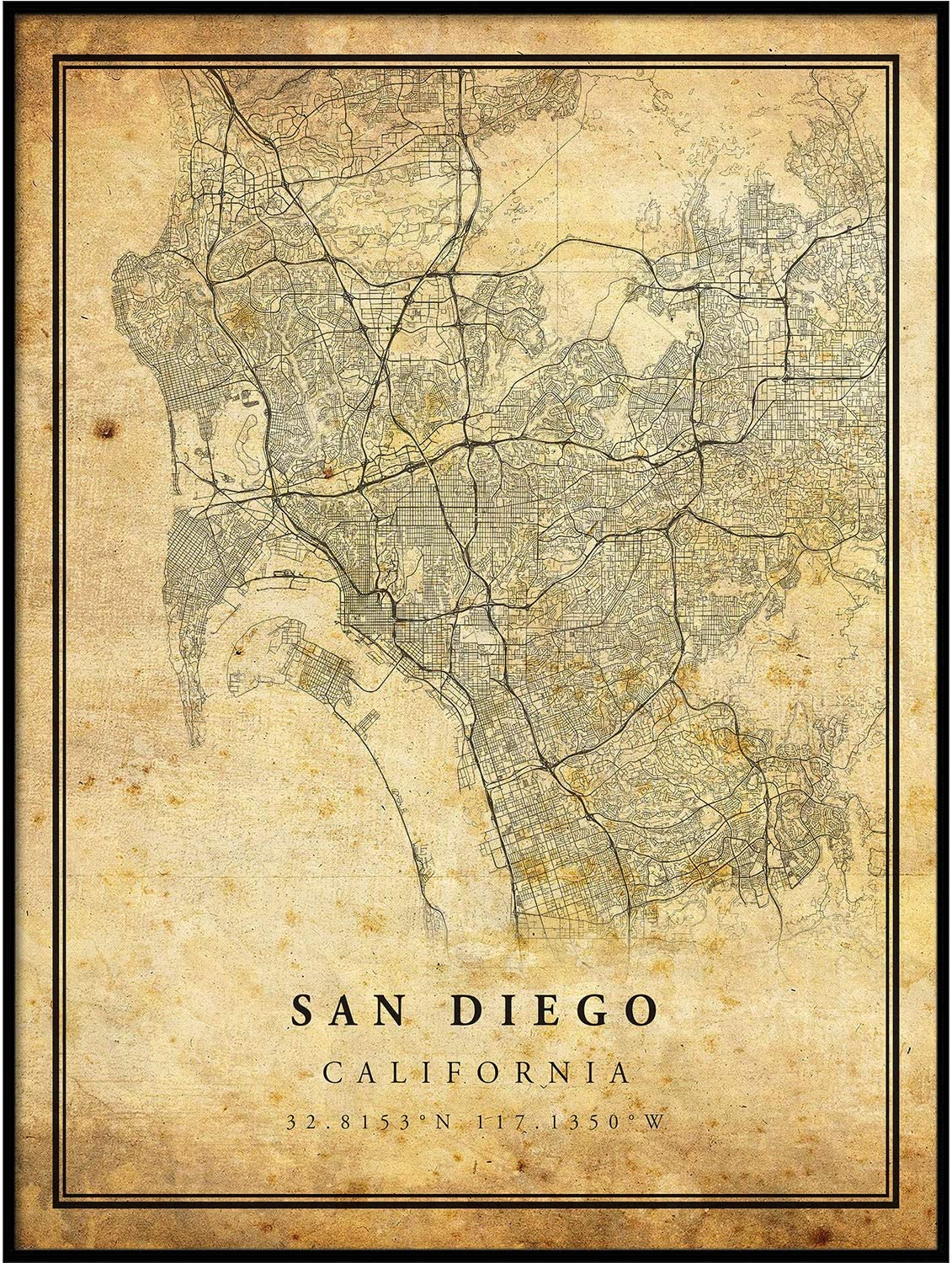 San Diego map Vintage Style Poster Print | Old City Artwork Prints | Antique Style Home Decor | California Wall Art Gift | Vintage map Wedding 16x20