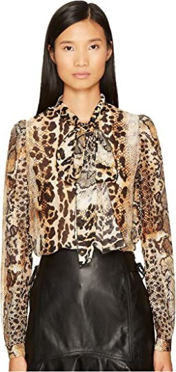 Just Cavalli - Long Sleeve Mixed Animal Print Top