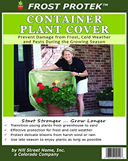 """Frost Protek Plant Cover for Containers -Transition from Greenhouse -Drawstring -Garden Fabric for Protection and Insulation -42"""" High"""