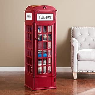 Harper Blvd Red Phone Booth Media Storage Cabinet