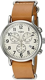 Timex Weekender Chrono Analog Quartz Watch with Leather Strap, Brown, 20 (Model: TWC063500)