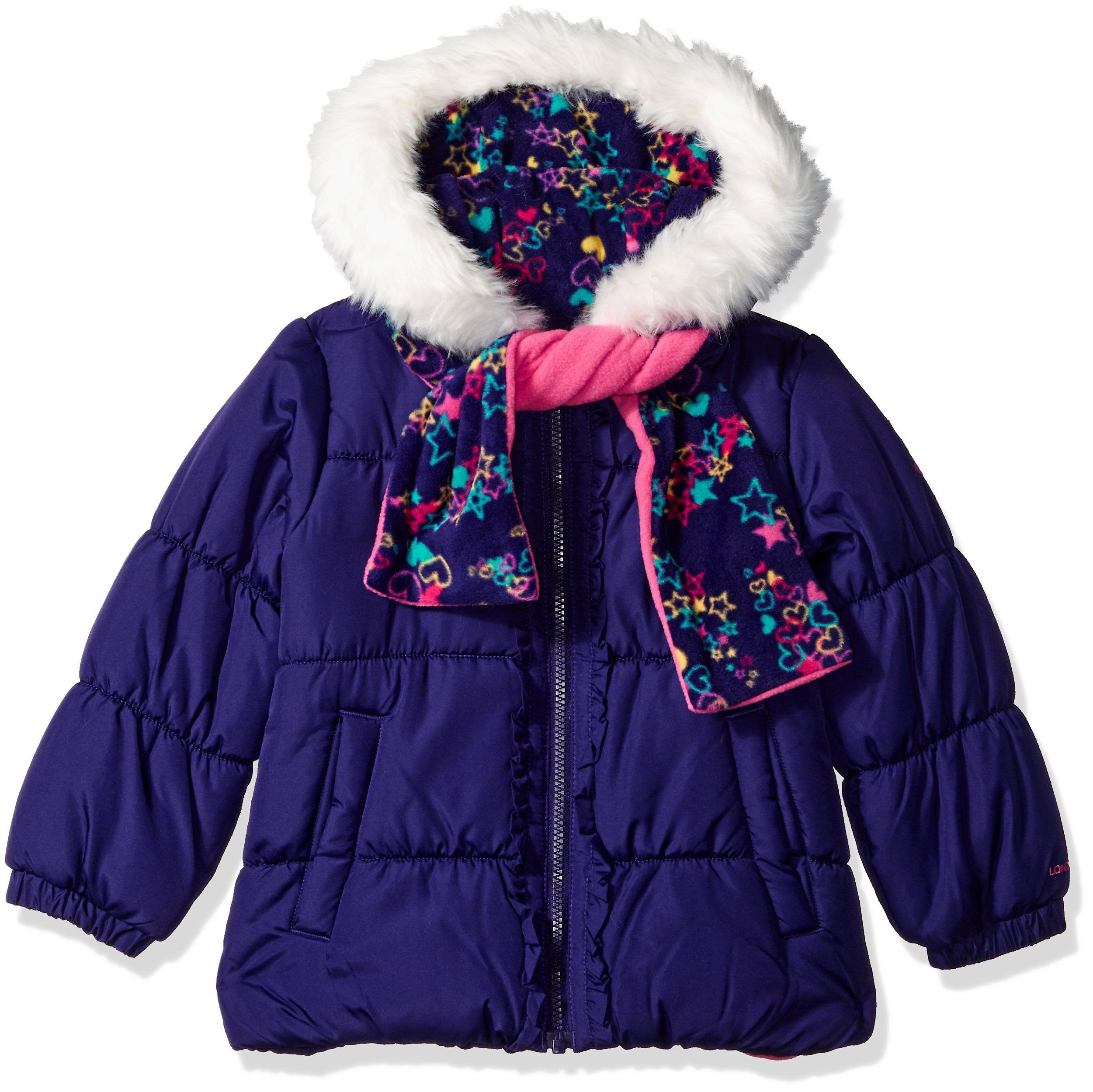 London Fog Girls Toddler Winter Coat with Hat /& Scarf
