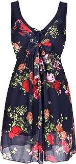 Lemonfish Plus Size Women Tankini Bikini Set Summer Swimsuit Swimwear Flower Print Mesh Beach Bathing Suit with Front Bow