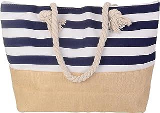 Pulama Womens Large Beach Tote Canvas Shoulder Bag Wave Striped Anchor Summer Handbag Top Handle Bag Straw Beach Bag (Blue)