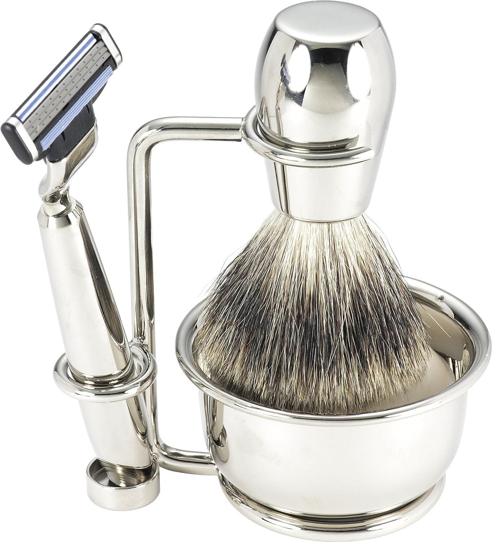 Swissco 5-Piece Shave Set Nickel 3 Soap Badger Bowl Indefinitely excellence Mach