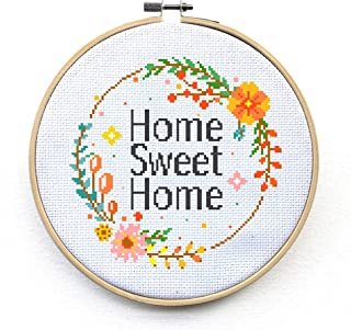 Home Sweet Home Counted Cross Stitch Kit - Modern Embroidery Pattern (No Hoop)