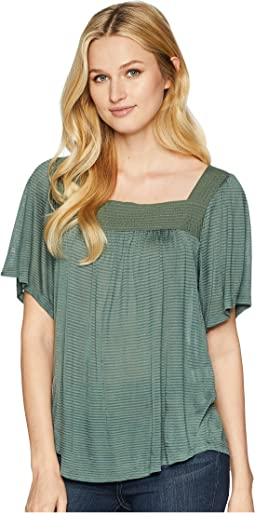 Shadow Stripe Peasant Top