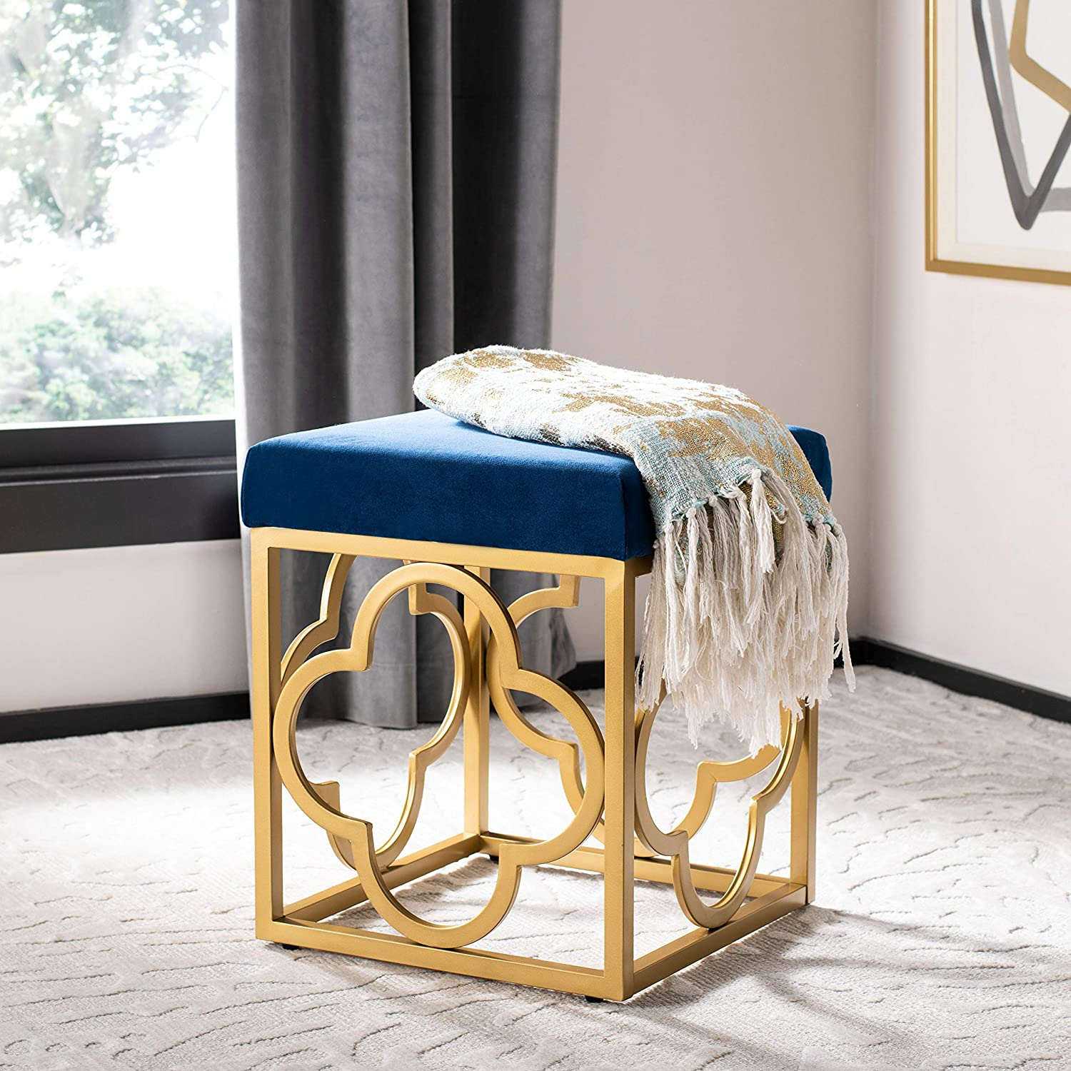 Safavieh Home Fleur Glam Blue Square Max 81% OFF Velvet Ottoman Courier shipping free shipping Gold Navy