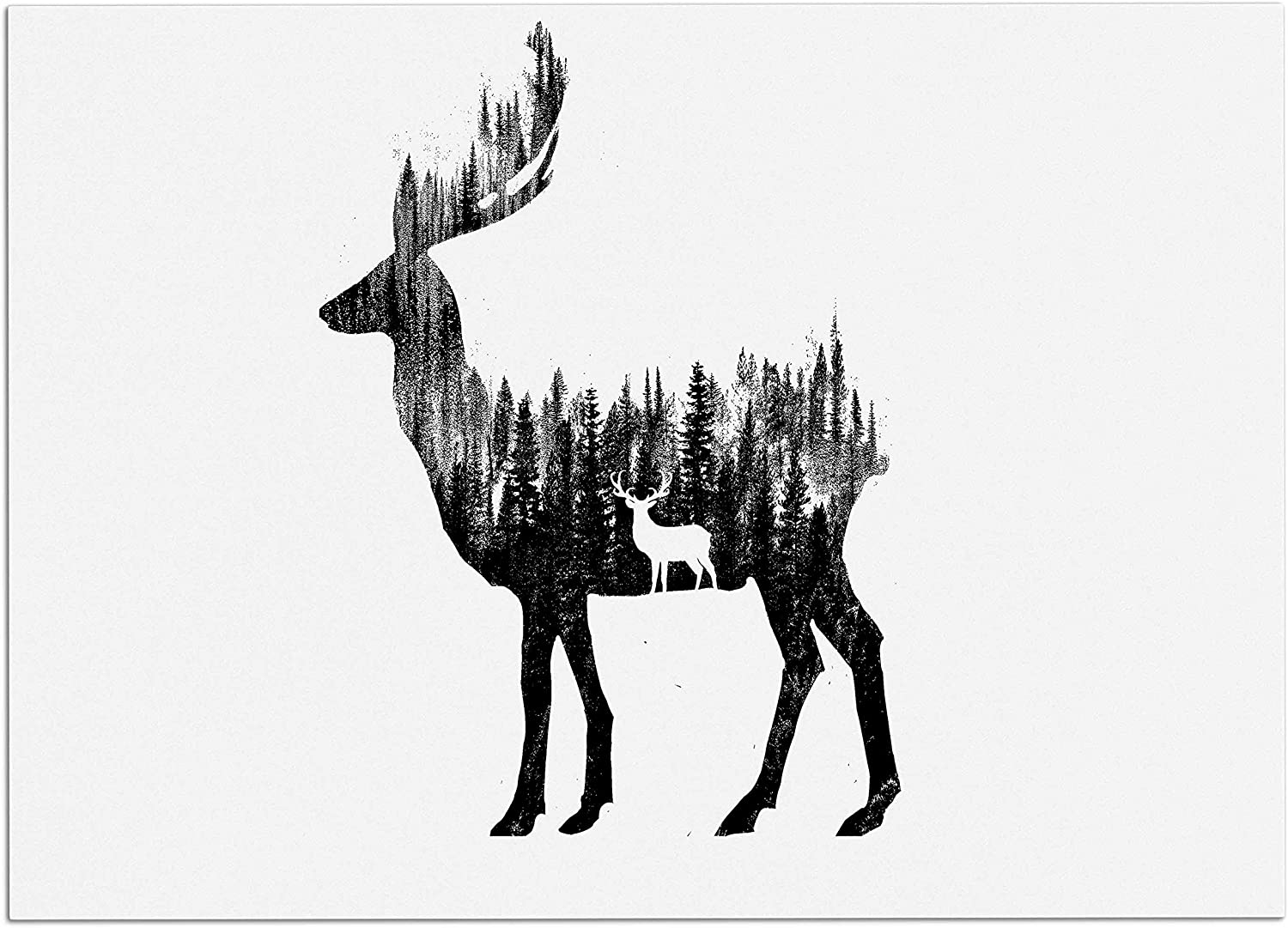 KESS InHouse RT1161ADM02 BarmalisiRTB The Deer Black White Digital Dog Place Mat, 24  x 15