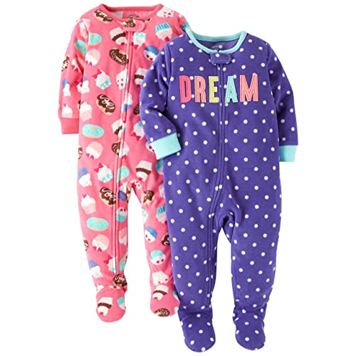 0bab814c92 Carter s Baby and Toddler Girls  2-Pack Fleece Footed Pajamas