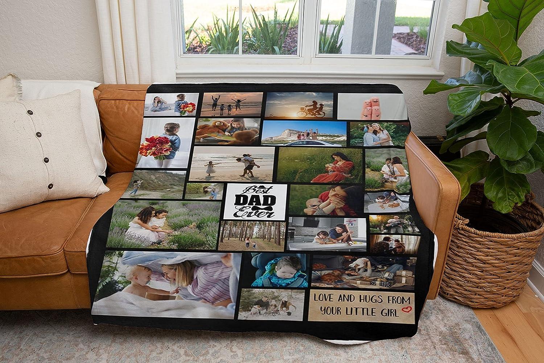 トラスト ご注文で当日配送 Personalized Blanket from Photo and Texts Father Grand for Dad